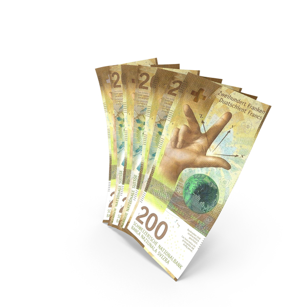 Handful of 200 Swiss Franc Banknote Bills PNG & PSD Images