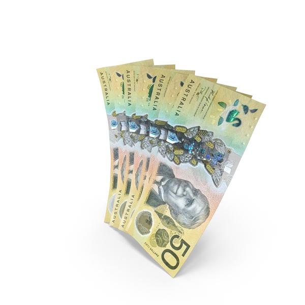 Handful of 50 Australian Dollar Banknote Bills PNG & PSD Images