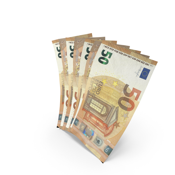 Handful of 50 Euro Banknote Bills PNG & PSD Images