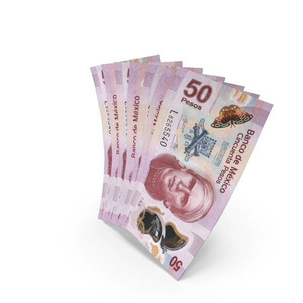 Handful of 50 Mexican Peso Banknote Bills PNG & PSD Images