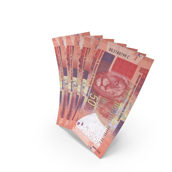 Russian Banknote: Handful of 50 South African Rand Bills PNG & PSD Images