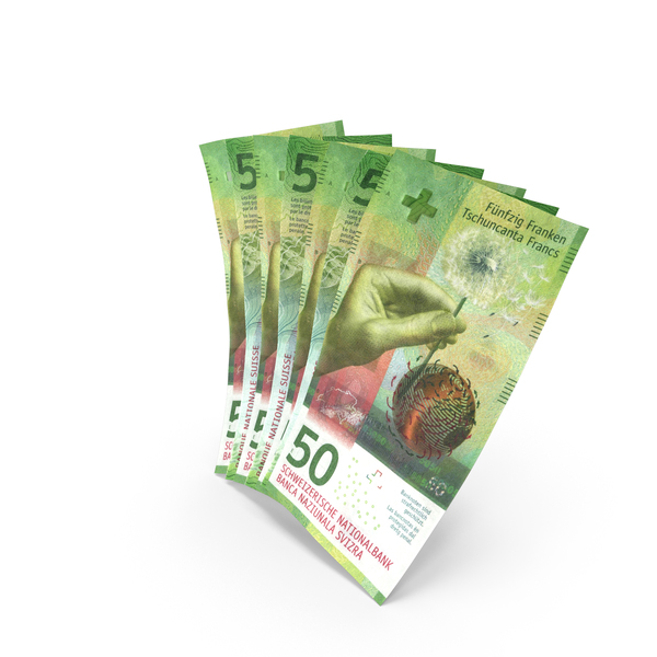 Handful of 50 Swiss Franc Banknote Bills PNG & PSD Images