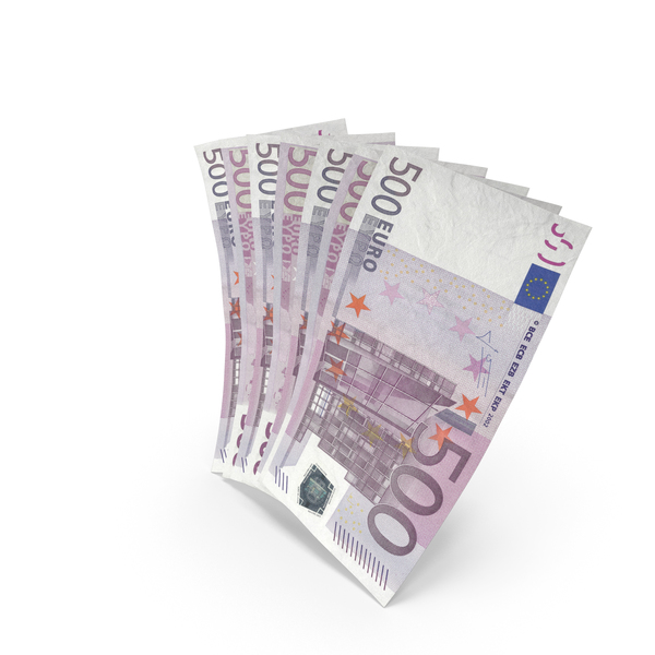 Handful of 500 Euro Banknote Bills PNG & PSD Images