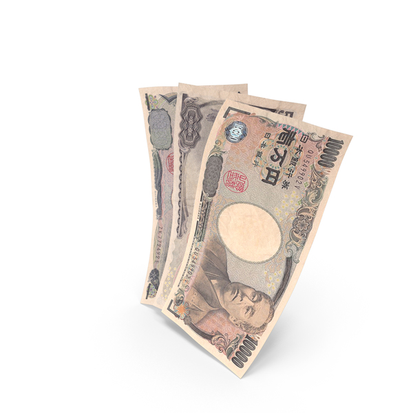 Handful of Japanese Yen Banknote Bills PNG & PSD Images