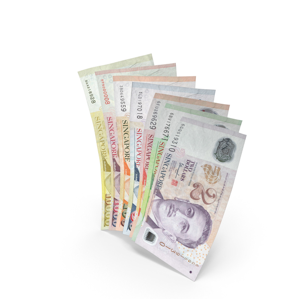Handful of Singapore Dollar Banknote Bills PNG & PSD Images