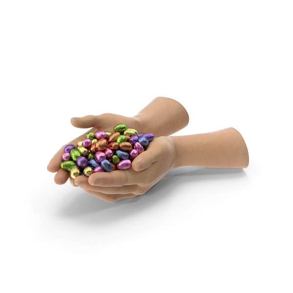 Candy: Hands With Wrapped Chocolate Easter Eggs PNG & PSD Images
