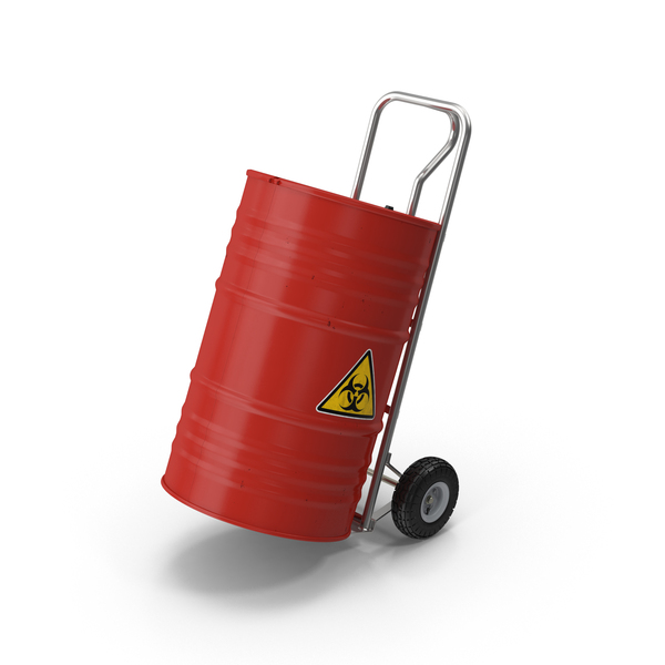 Handtruck and Biohazard Barrel PNG & PSD Images
