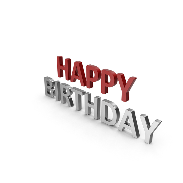 Happy Birthday Symbol Red and Silver PNG & PSD Images