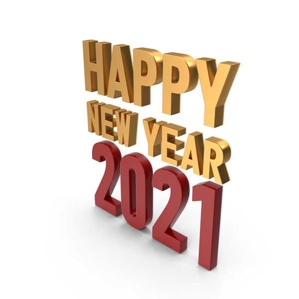 Happy New Year 2020 Symbol Gold and Red PNG & PSD Images