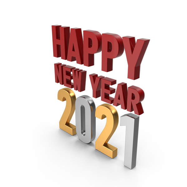 Happy New Year 2020 Symbol Red Gold and Silver PNG & PSD Images