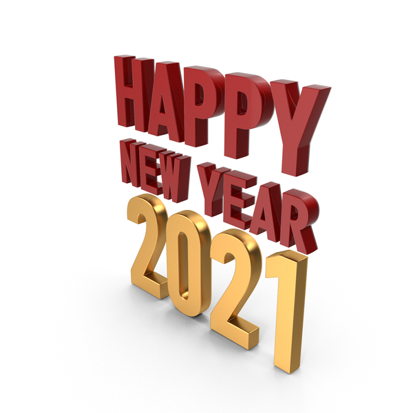 Happy New Year 2021 Symbol Red and Gold PNG & PSD Images