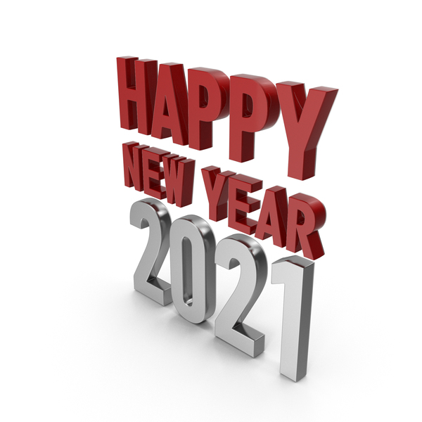 Happy New Year 2021 Symbol Red and Silver PNG & PSD Images