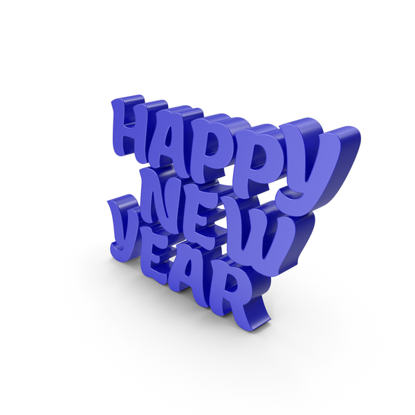 Year's Letters: Happy New Year Blue PNG & PSD Images