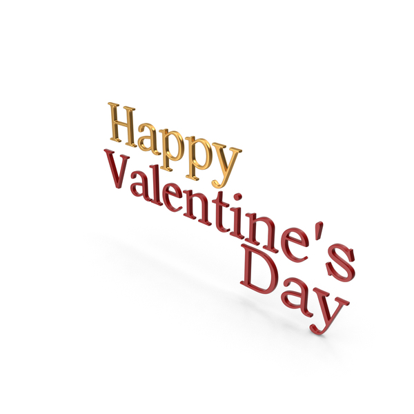 Happy Valentine's day Gold and Red PNG & PSD Images