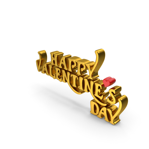 Happy Valentine's Day Gold PNG & PSD Images