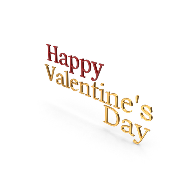 Happy Valentine's day Symbol Red and Gold PNG & PSD Images
