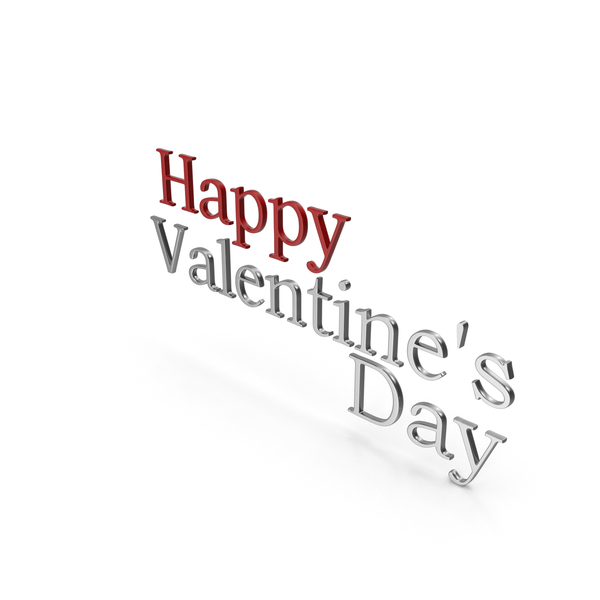 Happy Valentine's Day Symbol Red and Silver PNG & PSD Images