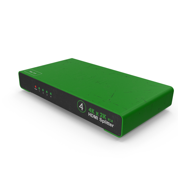 Cable: HDMI Splitter Green Used PNG & PSD Images