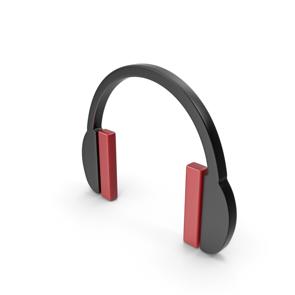 Logo: Headphones Icon Black and Red PNG & PSD Images