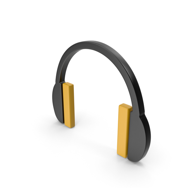 Computer: Headphones Icon Black and Yellow PNG & PSD Images
