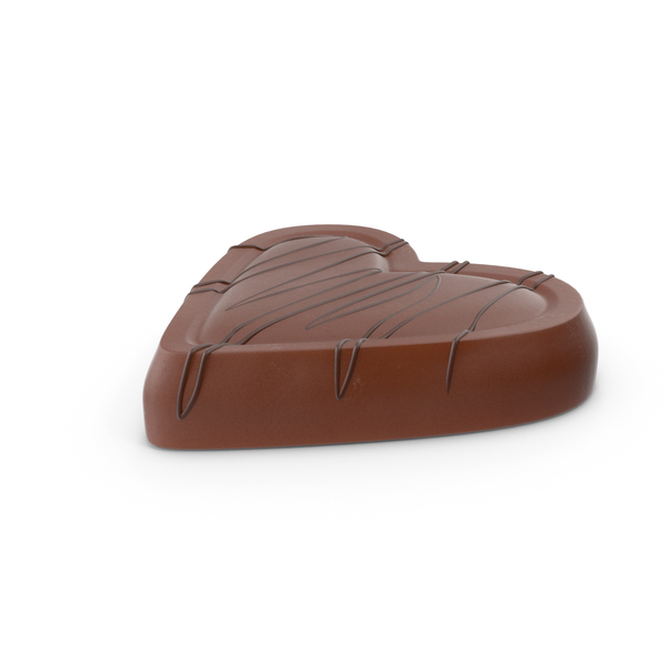 Heart Chocolate Candy with Chocolate Line PNG & PSD Images