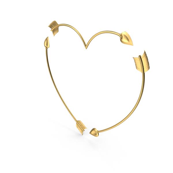 Heart Golden Arrows PNG & PSD Images