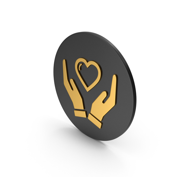 Heart Shaped Candy: Heart In Hands Gold Icon PNG & PSD Images