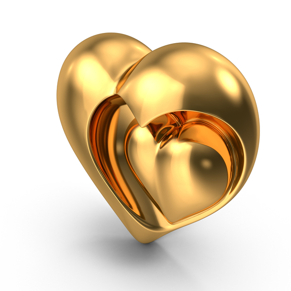 Heart Sculpture Gold PNG & PSD Images