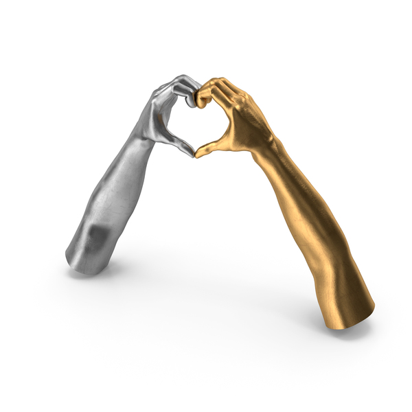 Hand: Heart Shape Gold Silver Hands PNG & PSD Images