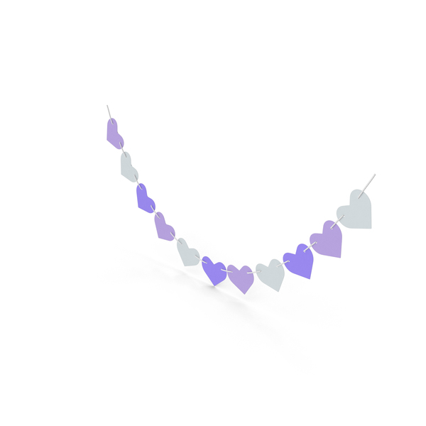 Heart Shaped Garland Purple and White PNG & PSD Images