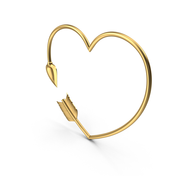 Heart Shaped Golden Arrow PNG & PSD Images