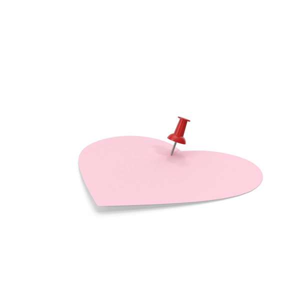 Sticky Note: Heart Shaped Pink Paper with Red Pin PNG & PSD Images