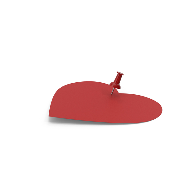 Sticky Note: Heart Shaped Red Paper with Red Pin PNG & PSD Images