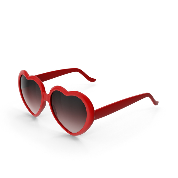 Heart Shaped Sunglasses Red PNG & PSD Images