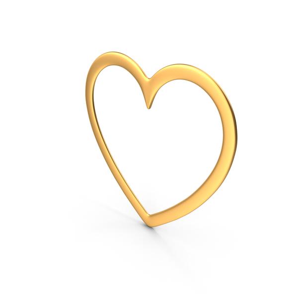 Shape: Heart Symbol Gold PNG & PSD Images