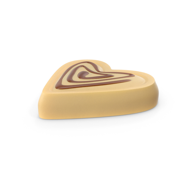 Heart White Chocolate Candy with Caramel Line PNG & PSD Images