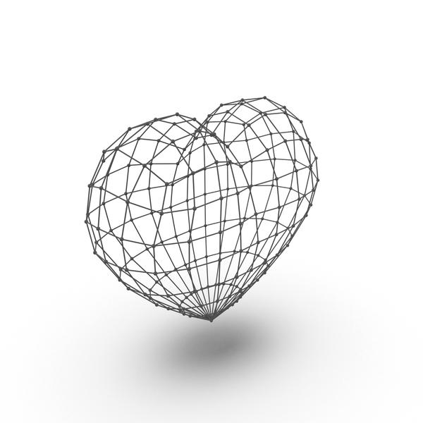 Heart Wire Frame Grid PNG & PSD Images