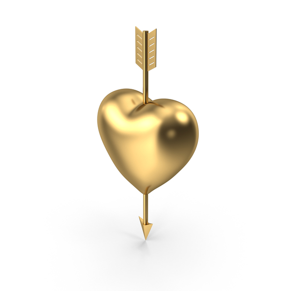 Heart with Arrow Gold PNG & PSD Images