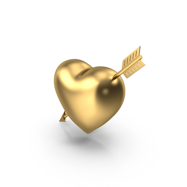 Shape: Heart with Arrow Gold PNG & PSD Images