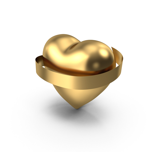 Heart with Banner Gold PNG & PSD Images