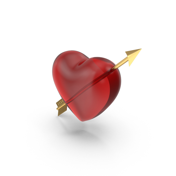 Heart With Gold Arrow PNG & PSD Images