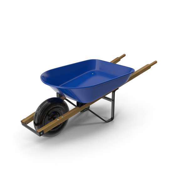 Heavy Gauge Wheelbarrow with Wooden Handles PNG & PSD Images