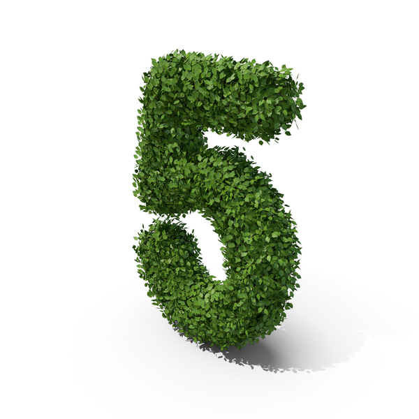 Hedge Shaped Number 5 PNG & PSD Images