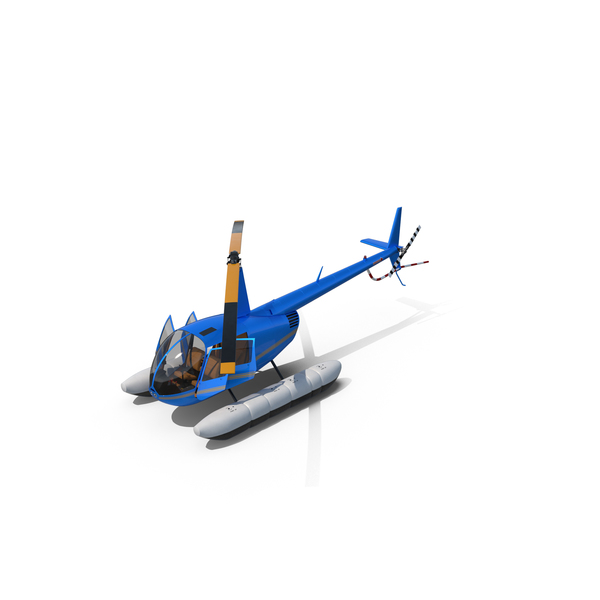 Helicopter Robinson R44 With Floats Object