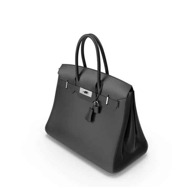 Hermes Matte Black Porosus Crocodile Birkin 35 Women Bag PNG & PSD Images