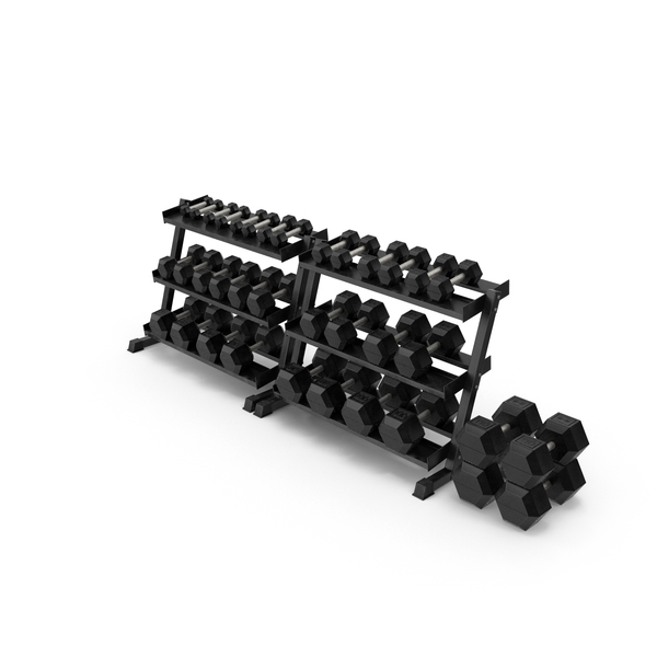 Weight Plate Tree: Hex Dumbbell Set PNG & PSD Images