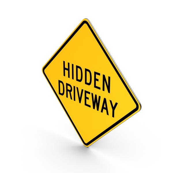 Hidden Driveway Road Sign PNG & PSD Images