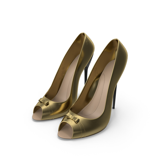 High Heels Women's Shoes Gold PNG & PSD Images