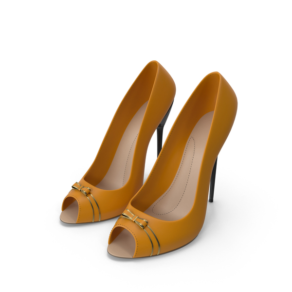 High Heels Women's Shoes Orange PNG & PSD Images
