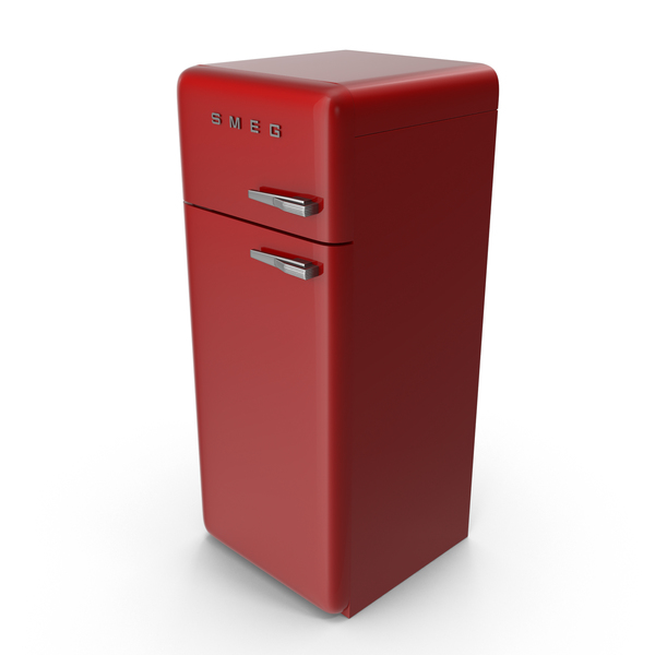 High Retro Red Refrigerator PNG & PSD Images
